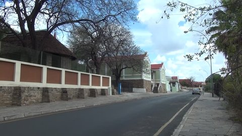 HD high quality summer day video footage of old vintage colonial style German house near historical center of Windhoek, the capital of Namibia, southern Africa
