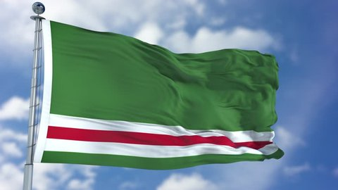 Chechen Republic of Ichkeria Flag in a Blue Sky. Use this clip loud and proud to express loyalty and love to our country. It is a seamless loop with luma channel.