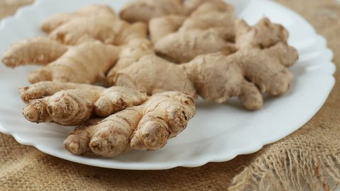 Ginger root on a plate.