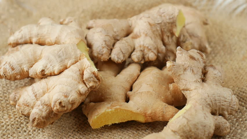 Ginger roots on burlap.