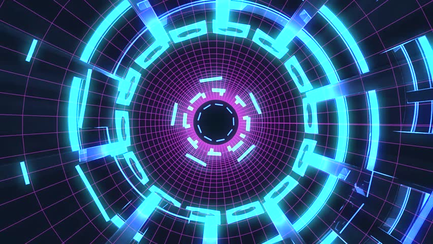 Flight in out through block grid neon lights abstract cyber tunnel motion graphics animation background loop new quality retro futuristic vintage style cool nice beautiful video footage