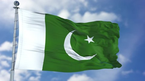 Pakistan Flag in a Blue Sky. Use this clip loud and proud to express loyalty and love to our country. It is a seamless loop with luma channel.