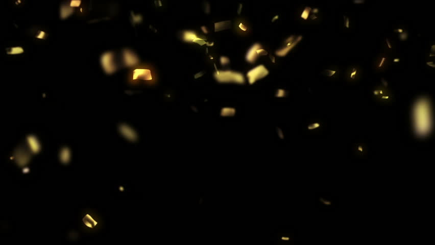 Golden confetti falling down, animation with matte