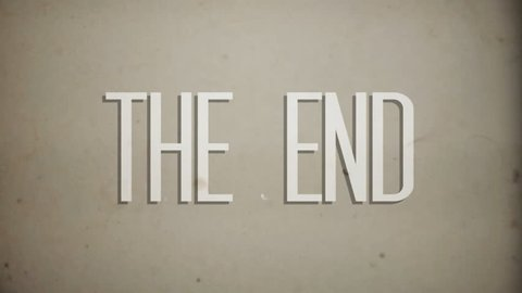 """8mm retro film """"The End"""" ending graphic animation."""