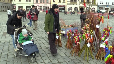 OLOMOUC, CZECH REPUBLIC, MARCH 30, 2018: Sales of traditional Easter whip folk celebrations holidays on the square market in Olomouc, holidays of spring and calm, Paschal holiday, people