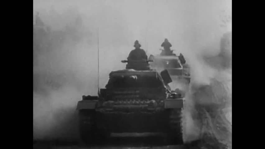 CIRCA 1940s - The Nazi 21st Panzer Division battles with the Allied 9th and 34th Units, in Tunisia, during World War II, in 1943.