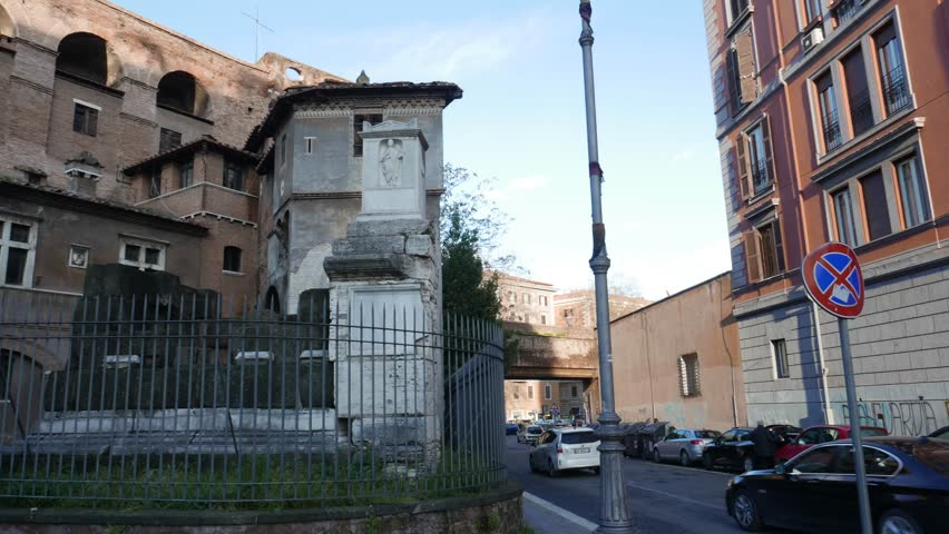 ROME, ITALY -  MARCH 18, 2018: Porta Salaria, ancient Roman gate part of the Aurelian Walls