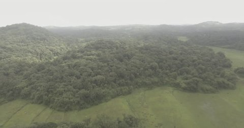 A cinematic aerial view of lush green fields and misty clouds.