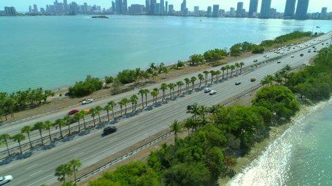 4k drone aerial above Julia Tuttle Causeway Miami bridges Biscayne Bay