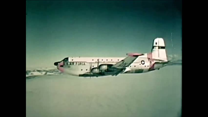 CIRCA 1961 - Captain Scott's 1919 Antarctic expedition site is shown as a USAF plane flies past.