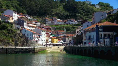 Wide: A Typical Day of Iconic Slipway of Cudillero