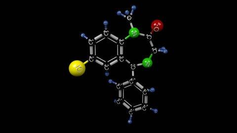 Diazepam molecule. Molecular structure of valium. Tranquilizer. Alpha channel.