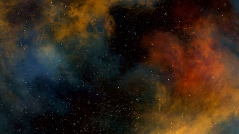 Universe, colorful nebula, planets and stars, flying through imaginary nebula, space clouds and star fields in deep space, dynamic background, animation, abstract illustration, seamless loop