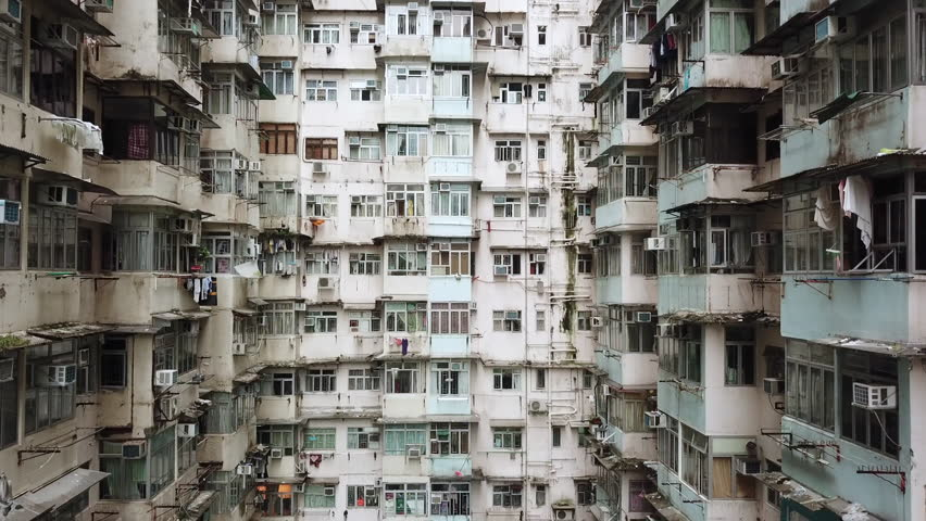 Aerial Drone - Old Apartment Complex in Hong Kong China