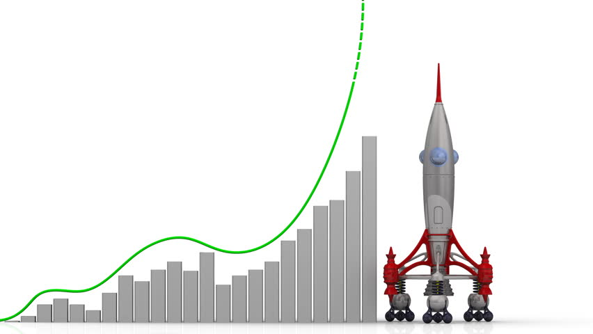 The growth graph of the Russian ruble. Graph of rapid growth of the Russian ruble and rocket launch. Footage video | Shutterstock HD Video #1009527254