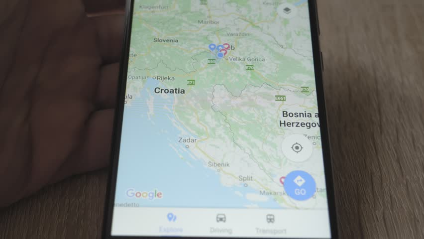 Using maps on the smartphone, looking for Split, Croatia