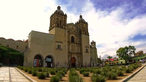 Time lapse view of Cathedral of Santo Domingo, Oaxaca, Mexico.