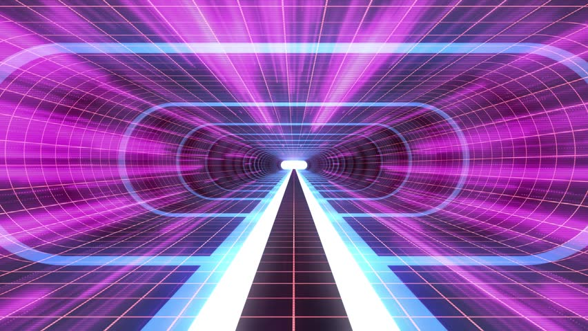 In out flight through VR BLUE neon RED grid PURPLE lights cyber tunnel HUD interface motion graphics animation background new quality retro futuristic vintage style cool nice beautiful video