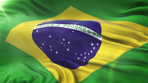 Flag of Brazil waving on sun. Seamless loop with highly detailed fabric texture. Loop ready in 4k resolution.