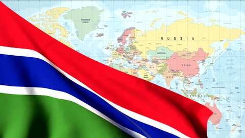 The waving flag of Gambia opens up the view to the position of Gambia on a colored world map