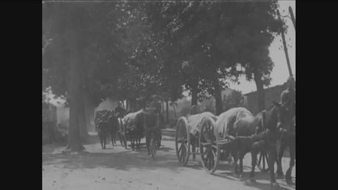 CIRCA 1918 - The 319th Field Artillery Regiment marches and travels in horse-drawn wagons toward the Front in France in World War 1.