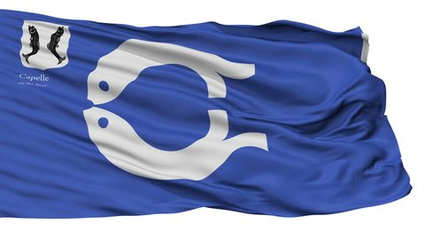 Capelle aan den IJssel flag, city of Netherlands, realistic animation isolated on white - 10 seconds long (alpha channel is included)