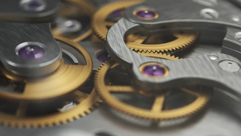 Luxury watch with working gears and mechanism visible through glass cover. Close up.