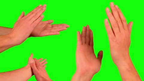 Applause, clapping hands. Gesture pack chroma key. Man's hands closeup isolated at green screen background. 3 various applause gestures.