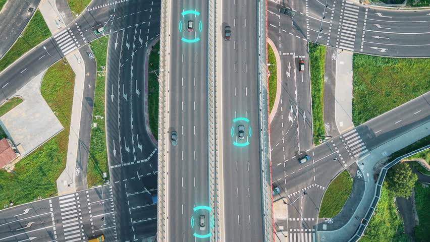 Motion graphics 4k animation composition of a highway aerial view with autonomous cars that showing the lidar-radar system and sensor operating through the traffic.