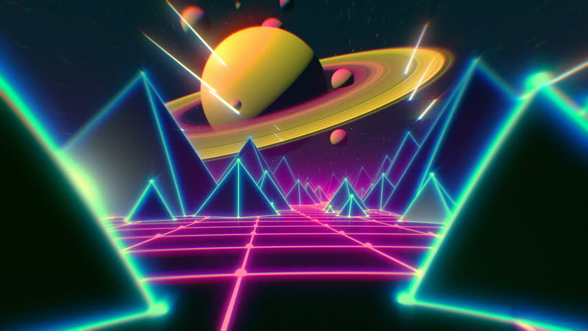 Retro futuristic flight over grid, seamless background 80s retro fantasy.