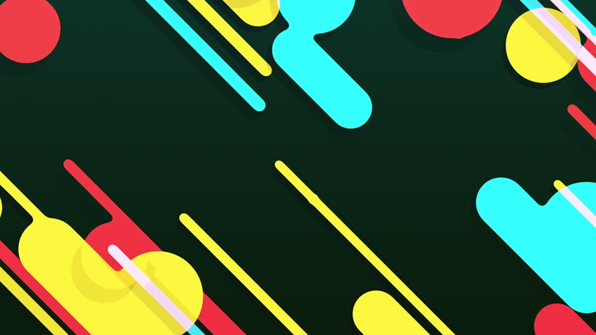 Abstract background in flat style with animation of rounded rectangles, circles and lines with light shadow or neon glow on colorful backdrop. Animation of seamless loop. | Shutterstock HD Video #1009683854