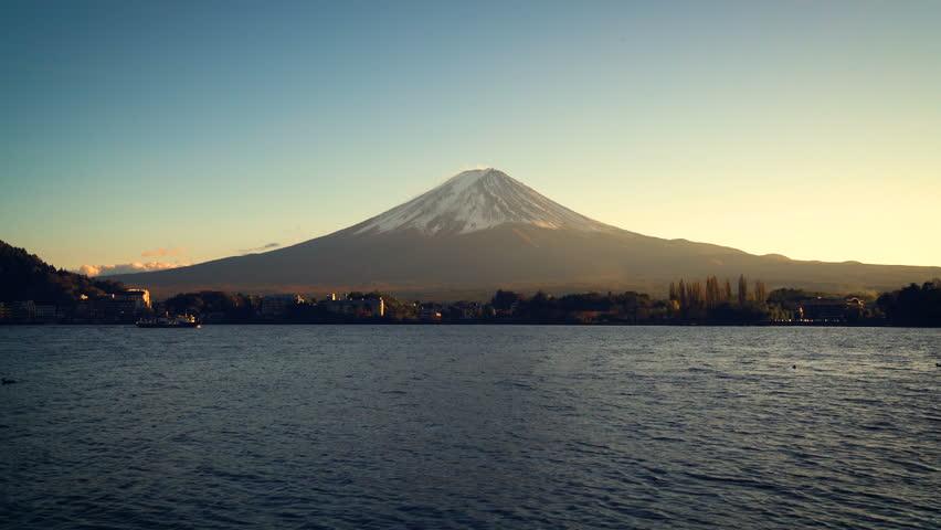 Mount Fuji , Japan - Lake Kawaguchiko is one of the best places in Japan to enjoy Mount Fuji scenery near Tokyo. | Shutterstock HD Video #1009688984
