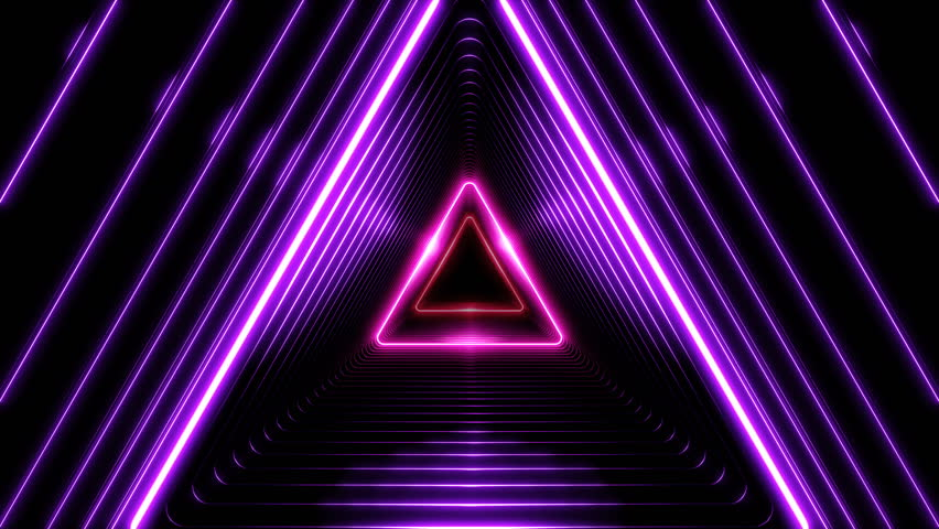 Beautiful Abstract Triangle Tunnel with Light Lines Moving Fast. Different Colors Rainbow. Background Futuristic Tunnel with Neon Lights. Looped 3d Animation Art Concept. 4K Ultra HD 3840x2160.