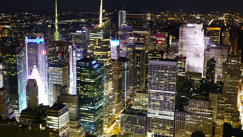 NYC New York City Building Skyscrapers Night Light Zoom in | Shutterstock HD Video #1009727564