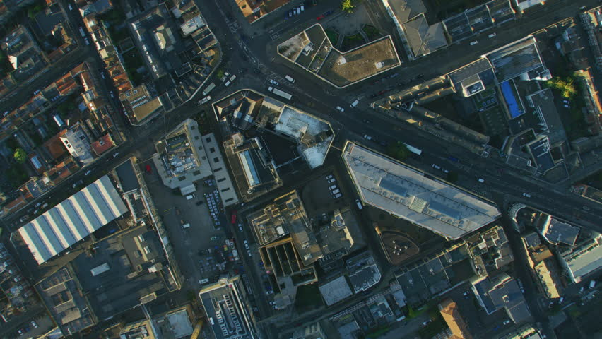 Aerial overhead view commuter travel City of London streets commercial and residential buildings skyscraper rooftops England United Kingdom RED WEAPON | Shutterstock HD Video #1009745594