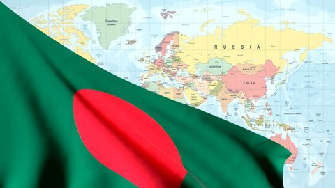 The waving flag of Bangladesh opens up the view to the position of Bangladesh on a colored world map