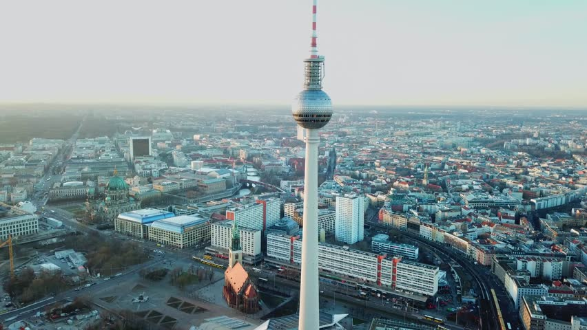Berlin, Germany. Aerial shot of TV Tower on Alexanderplatz  | Shutterstock HD Video #1009807424