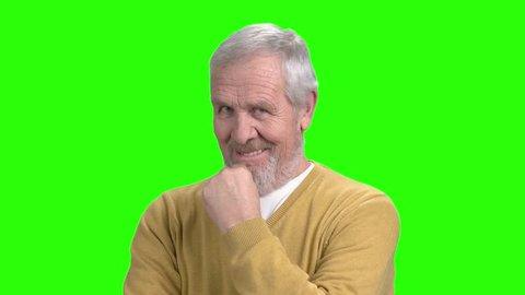 Senior Flirting Man, Green Screen  Stock Footage Video (100
