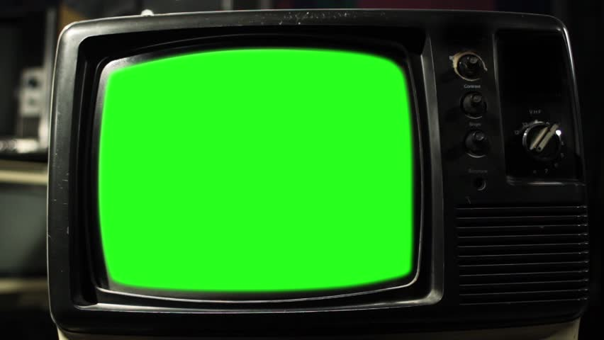 Vintage Tv Green Screen. Aesthetics of the 80s. Zoom In. Ready to replace green screen with any footage or picture you want. | Shutterstock HD Video #1009816574