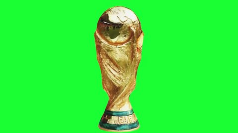 moscow - russia. 2018. 3d animation world cup trophy. spinning world cup champion trophy in green screen background.
