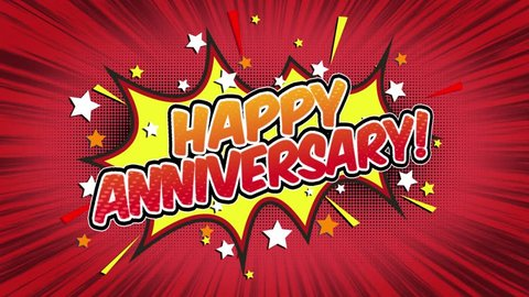 Happy Anniversary Word Retro Cartoon Comic Bubbles Popup Style Expressions Colored Bomb and Smoke Strip Dotted and red Speed Radial line Seamless loop Animation black / green screen 4k doodle. 14