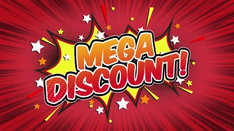 mega discount Word Retro Cartoon Comic Bubbles Popup Style Expressions Colored Bomb and Smoke Strip Dotted and red Speed Radial line Seamless loop Animation black / green screen  doodle background.19