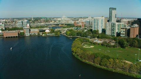 Boston, USA - November, 2017: Aerial Metropolitan view of multi lane Bunker Hill commuter road Bridge US Highway 1 and harbor Boston Massachusetts