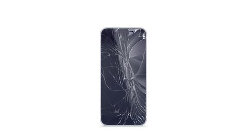 Blank broken phone mockup with cracked screen and fume front view, isolated, 3d rendering. Empty smartphone with colored display. Dropped blinking display template