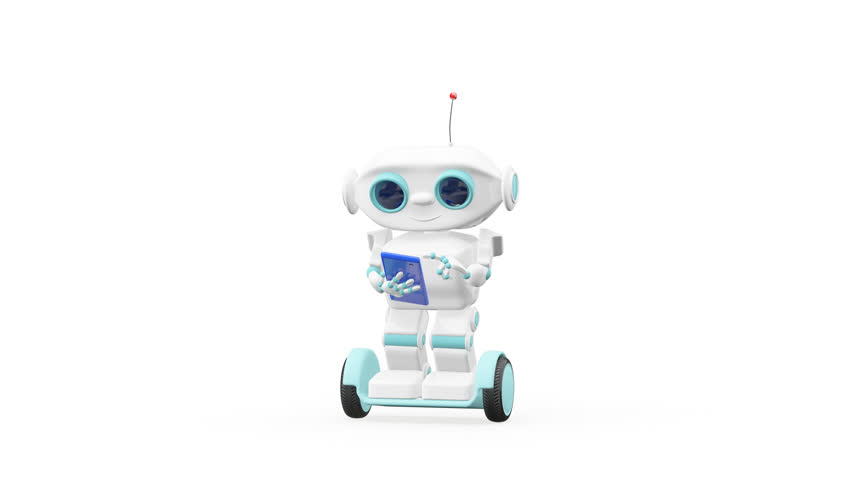 3D Animation Robot on Scooter with Blue Smartphone with Alpha Channel looped Video on a Transparent Background