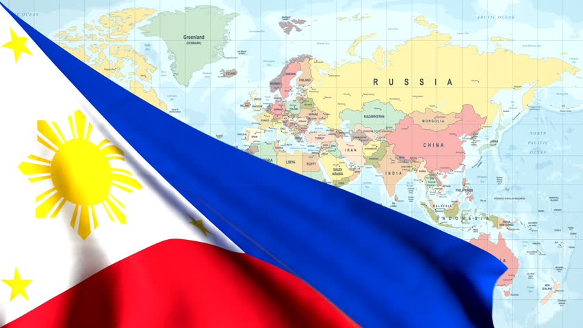 The waving flag of the Philippines opens up the view to the position of the Philippines on a colored world map