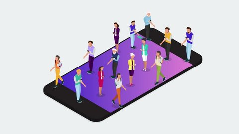 Isometric people animation. Vector concept of wireless technology devices. Flat isometric video with smartphone and isometric people. -stock footage