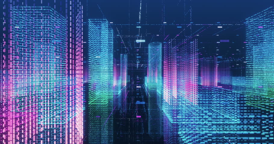Seamless loop abstract hologram 3D city rendering with futuristic matrix. Digital buildings with a binary code particles network. Technology and connection concept.  | Shutterstock HD Video #1009981514