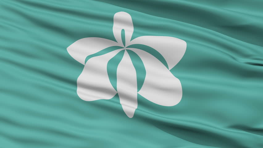 Yurihonjo close up flag, Akita prefecture, realistic animation seamless loop - 10 seconds long
