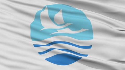 Izumi close up flag, Kagoshima prefecture, realistic animation seamless loop - 10 seconds long